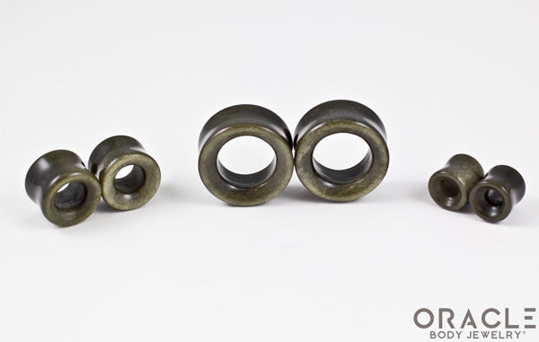 Gold Obsidian Double Flare Eyelets
