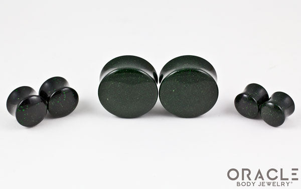 Green Goldstone Double Flare Plugs