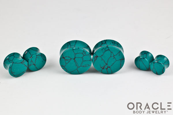 Green Spiderweb Synthetic Turquoise Double Flare Plugs