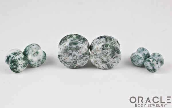Green Tree Agate Double Flare Plugs