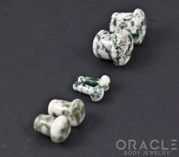 Green Tree Agate Single Flare Plugs