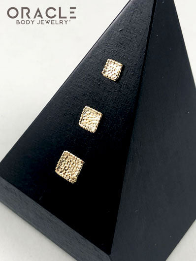 14k Hammered Square Threadless Gold End