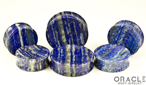 Lapis Concave Solid Double Flare Plugs