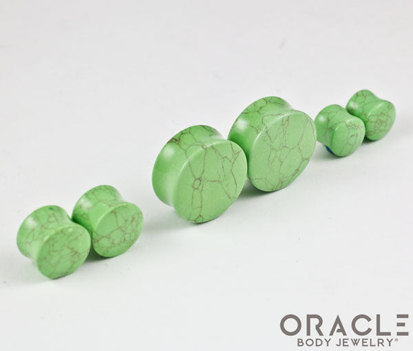 Light Green Synthetic Turquoise Double Flare Plugs