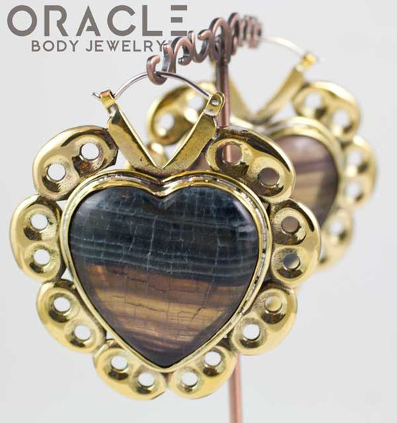 Minya in Brass with Rainbow Fluorite Hearts