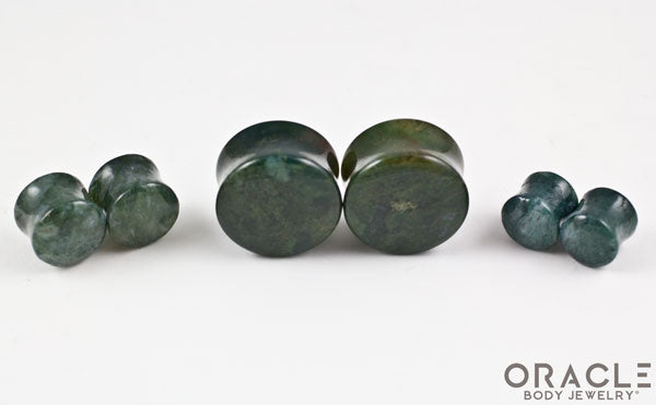 Moss Agate Double Flare Plugs