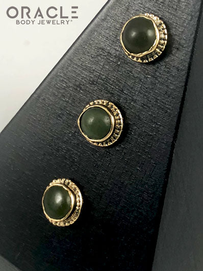 14k Nephrite Jade Threadless Gold End