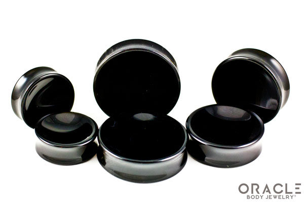 Obsidian Concave Solid Double Flare Plugs