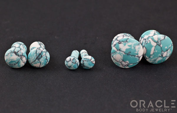 Synthetic Ocean Wave Turquoise Single Flare Plugs