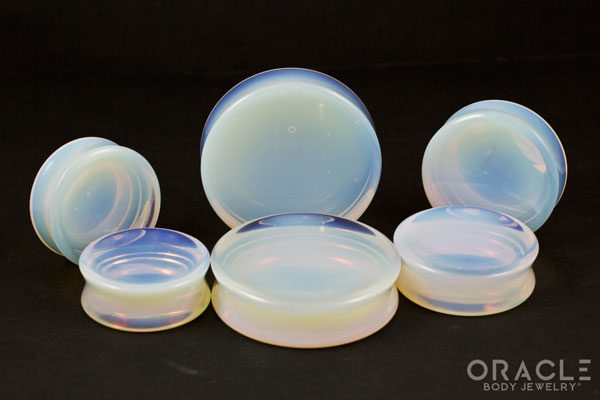 Opalite Concave Solid Double Flare Stone Plugs