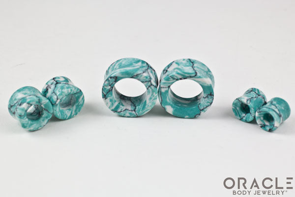 Synthetic Ocean Wave Turquoise Double Flare Eyelets