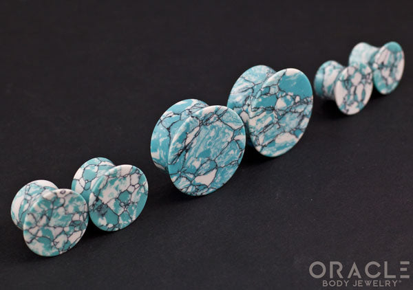 Synthetic Ocean Wave Turquoise Mayan Style Flare Plugs