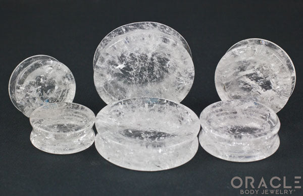 Quartz Concave Solid Double Flare Plugs