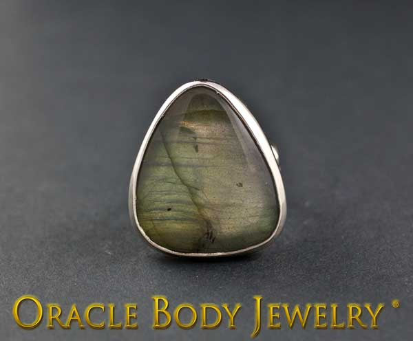 Steel Adjustable Labradorite Ring