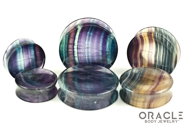 Rainbow Fluorite Concave Solid Double Flare Plugs