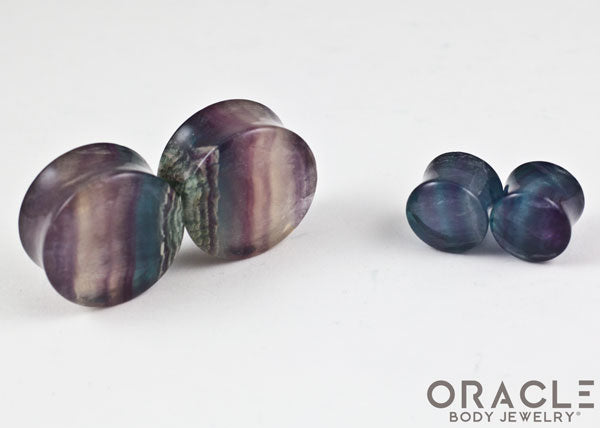 Rainbow Fluorite Double Flare Plugs