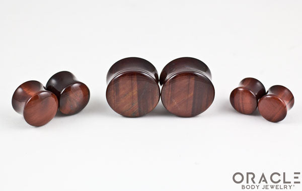 Red Tiger Eye Double Flare Plugs
