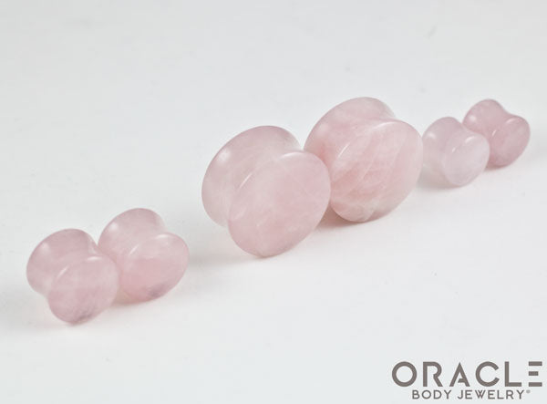 Rose Quartz Double Flare Plugs