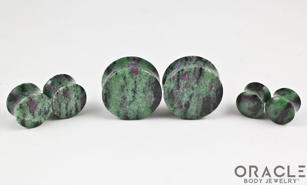 Ruby in Zoisite Double Flare Plugs