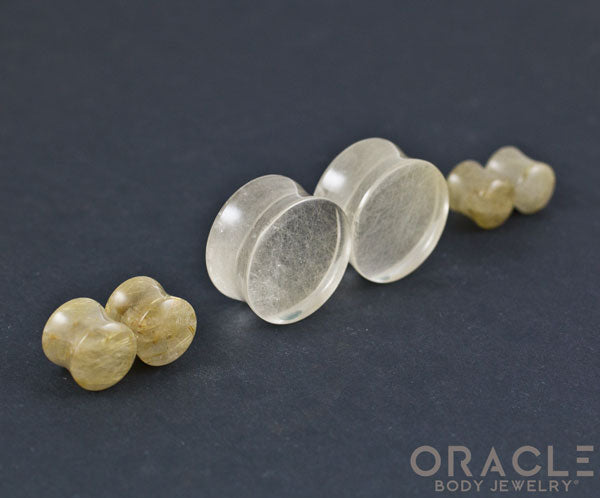 Rutilated Quartz Double Flare Plugs