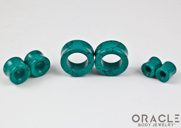 Synthetic Green Spiderweb Turquoise Double Flare Eyelets