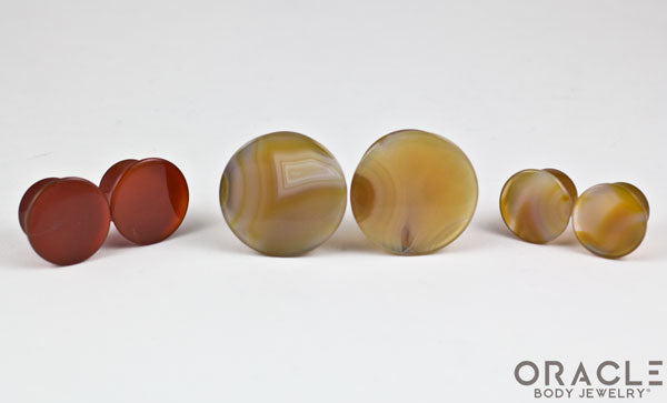 Thunder Egg Agate Mayan Style Flare Plugs