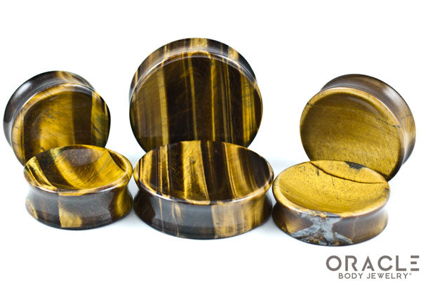 Yellow Tiger Eye Concave Solid Double Flare Stone Plugs