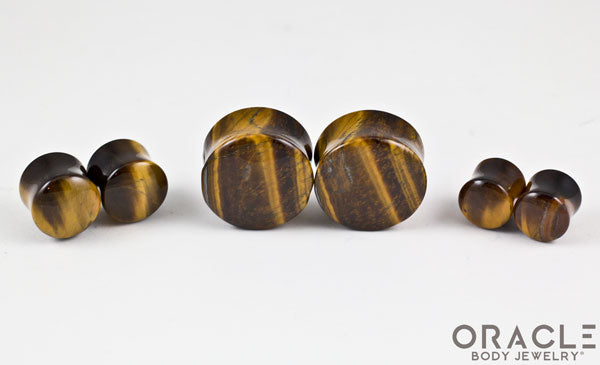 Yellow Tiger Eye Double Flare Plugs