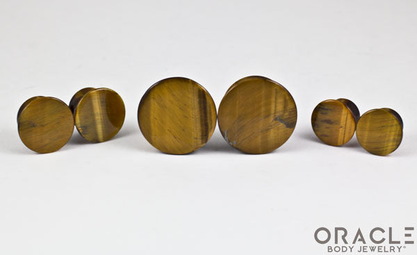 Yellow Tiger Eye Mayan Style Flare Plugs