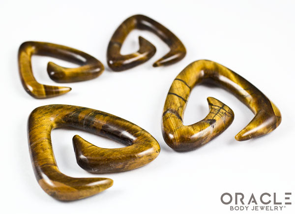 Yellow Tiger Eye Trinity Stone Spirals