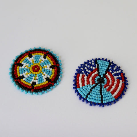 Native American Beaded Rosette Medallions