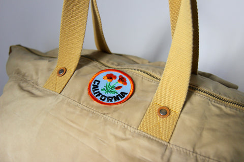 Waxed Cotton Weekender with California Poppy Patch