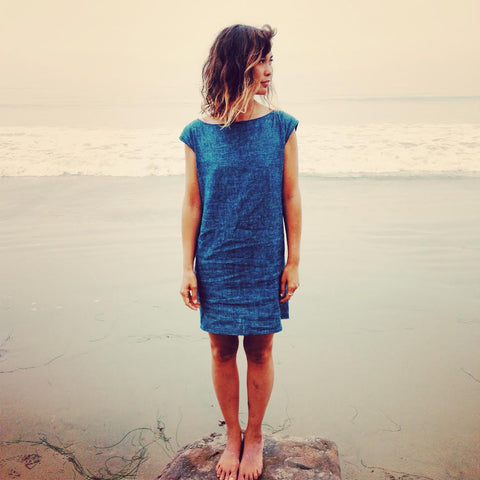 OZMA indigo chambray shift dress