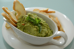 Guacamole with Camelina Crostinis