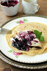 Wild Rice Crepes with Honeyed Saskatoon Greek Yogurt Mousse