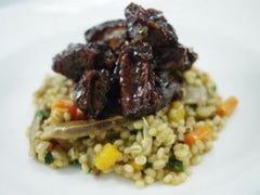 Boneless BBQ Wild Boar Side Ribs, Pearl Barley and Wild Mushroom Risotto