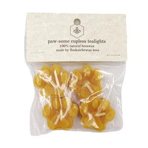 Tu-Bees Gourmet Honey - Beeswax Paw Print Tealight Candles (4 Pack)