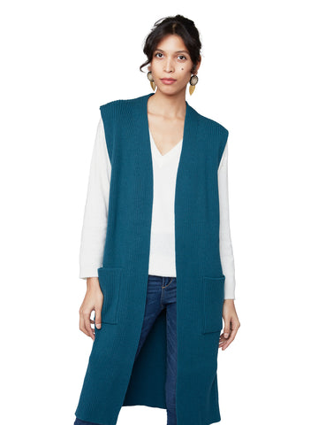 Guendalina - Ribbed long vest with pockets