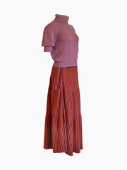 YIMY x MANÚ - Long skirt with stripes 100% Cashmere