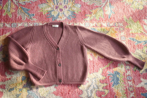 YIMY x MANÚ - Manú ribbed cardigan balloons sleeves cropped 100% Cashmere