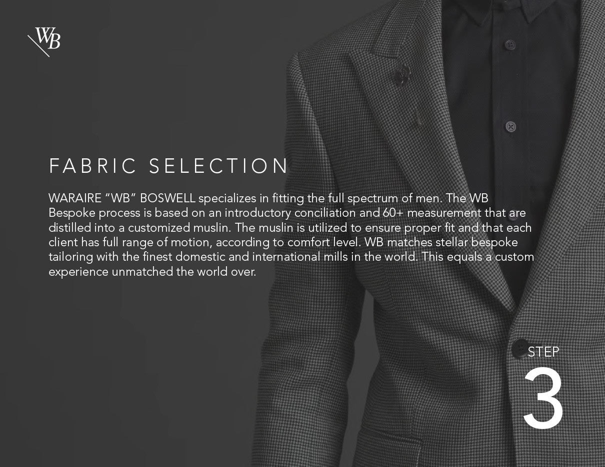 Waraire Boswell - Men's Custom Process.  Fabric selection.