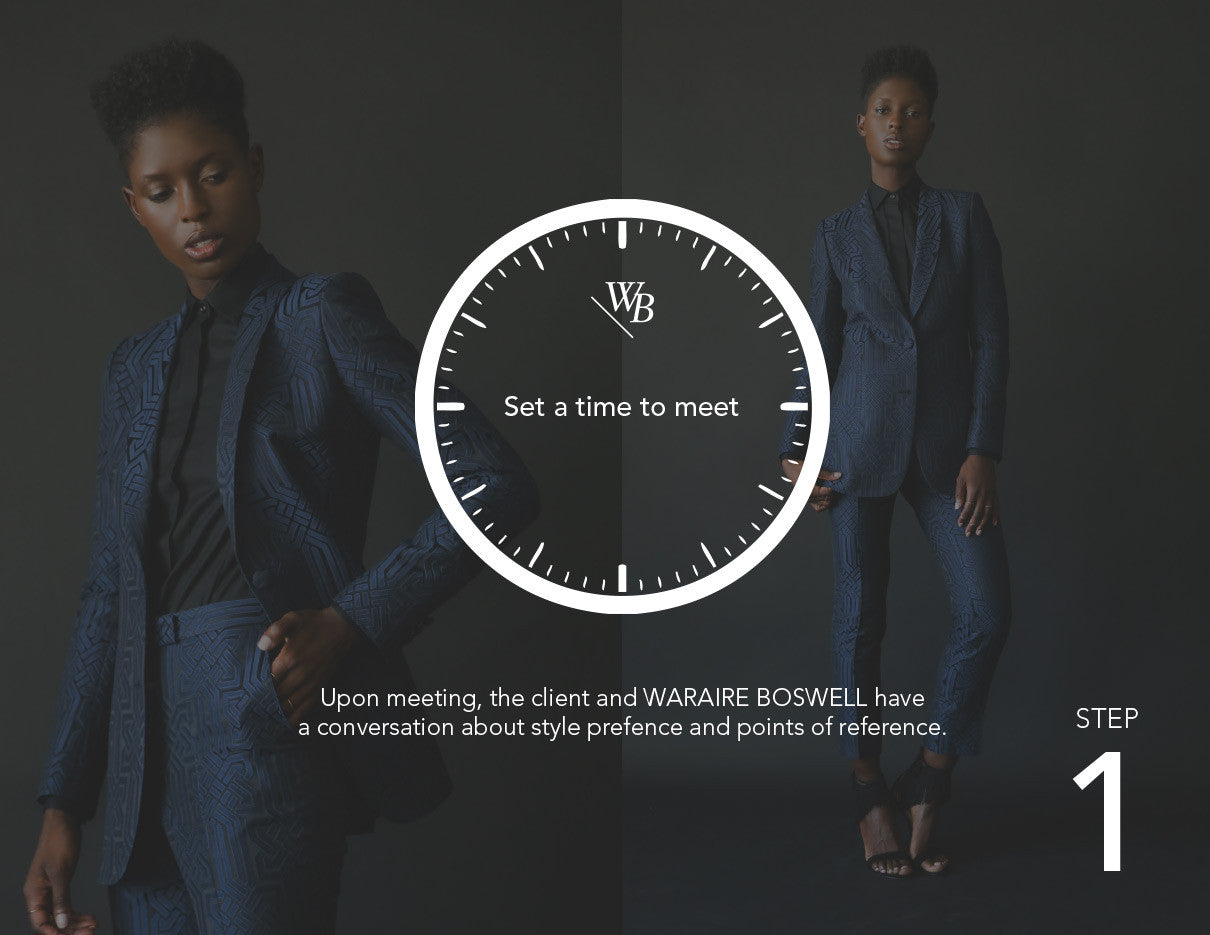 Waraire Boswell - Women's Custom Process.  Set a time to meet.