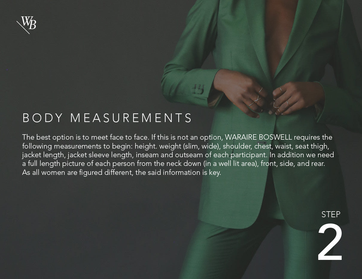Waraire Boswell - Women's Custom Process.  Body Measurements.