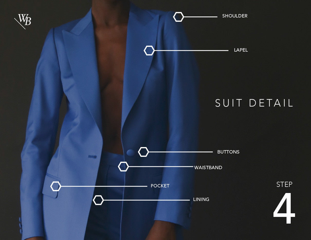 Waraire Boswell - Women's Custom Process.  Suit detail.