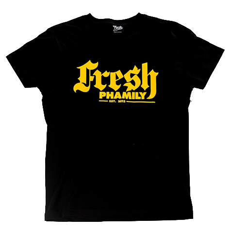 Black Yellow Script Tee from Fresh Phamily Clothing