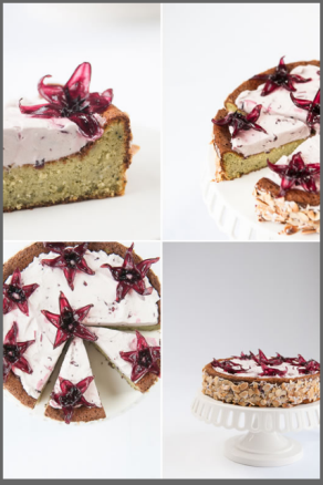 Matcha White Chocolate Cake With Wild Hibiscus Cream.