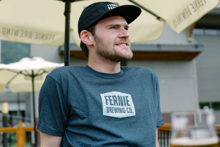 Men's Tee - Fernie Brewing Co. Classic Logo Black Aqua