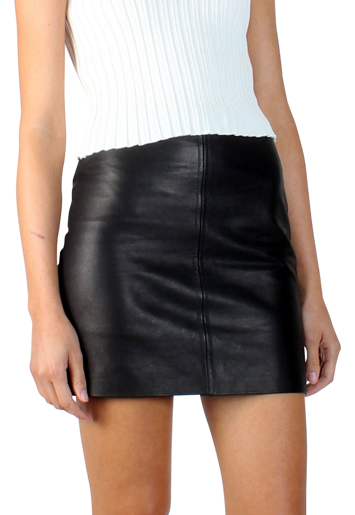 Alice Leather Mini Skirt Black