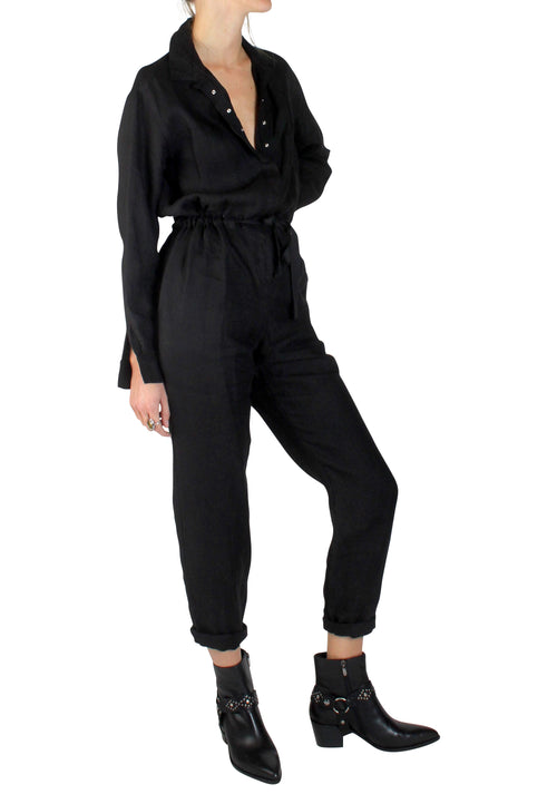 Linen Boilersuit Black