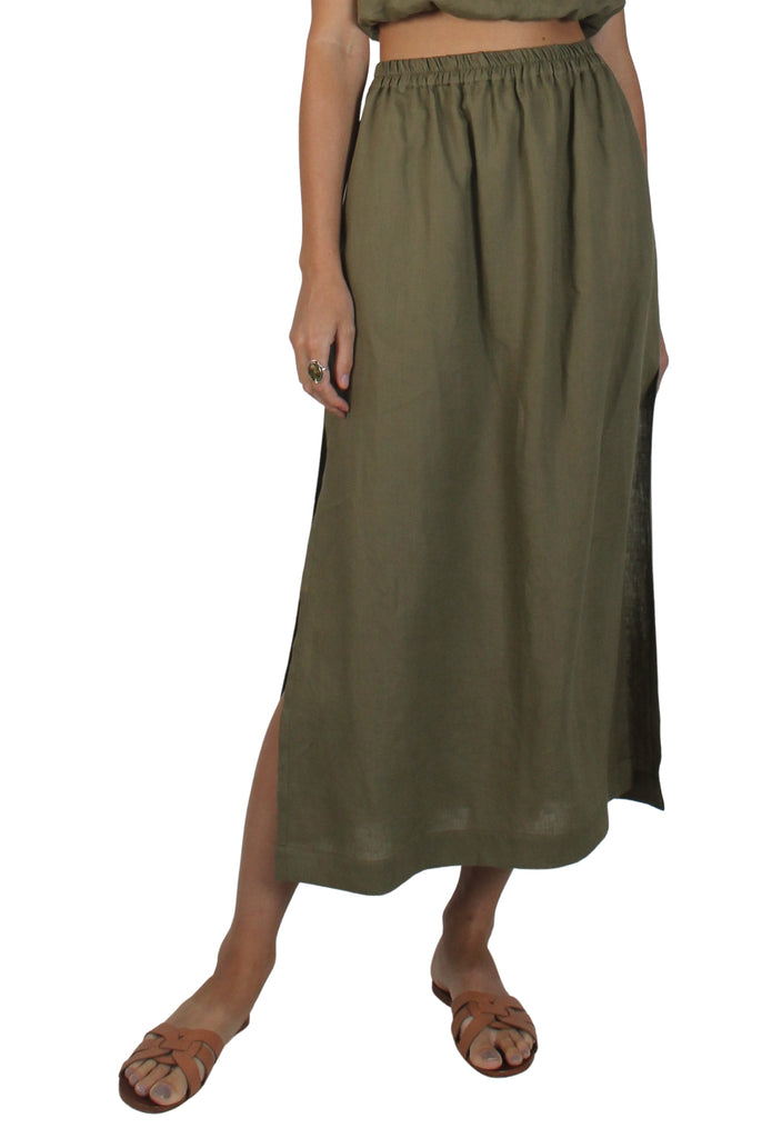 Pacific Linen Skirt Khaki